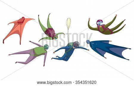 Parachute Jumpers Floating In The Sky With Closed Air-chute Vector Set