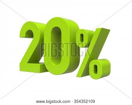 3d Render: ISOLATED 20% Percent Discount 3d Sign on WHITE Background, Special Offer 20% Discount Tag, Sale Up to 20 Percent Off, Twenty Percent Letters Sale Symbol, Special Offer Label