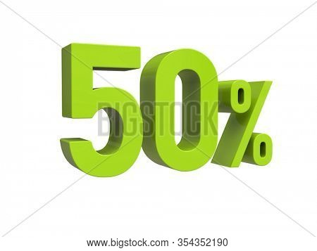 3d Render: ISOLATED 50% Percent Discount 3d Sign on White Background, Special Offer 50% Discount Tag, Sale Up to 50 Percent Off, Fifty Percent Letters Sale Symbol, Special Offer Label