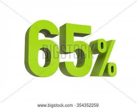 3d Render: ISOLATED 65% Percent Discount 3d Sign on White Background, Special Offer 65% Discount Tag, Sale Up to 65 Percent Off, Sixty-five Percent Letters Sale Symbol, Special Offer Label