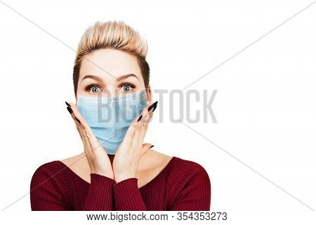 Young Woman Amazed Wearing Protective Face Mask Prevent Virus Infection, Pollution, White Isolated B