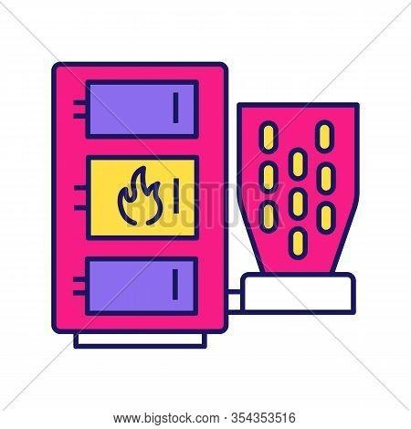Pellet Boiler Color Icon. Central Heating System. Solid Fuel Boiler. Pellet Burner System. Workshops