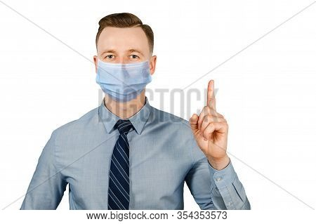 Man Wearing Protective Face Mask Prevent Virus Infection, Pollution With Idea Pointing Finger, White