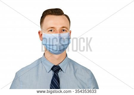 Man In Blue Shirt And Tie Wearing A Protective Face Mask Prevent Virus Infection, Pollution On White
