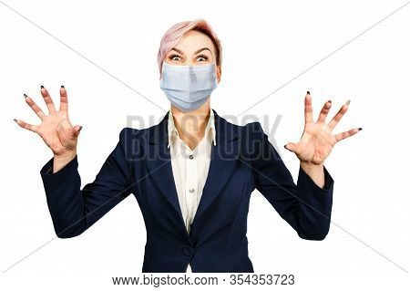 Business Angry Girl Cry Wearing Protective Face Mask Prevent Virus Infection, Pollution, White Isola