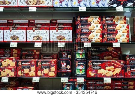 Minsk, Belarus - January 27, 2020: A Variety Of Walkers Products On Shelves Of The Supermarket. Walk