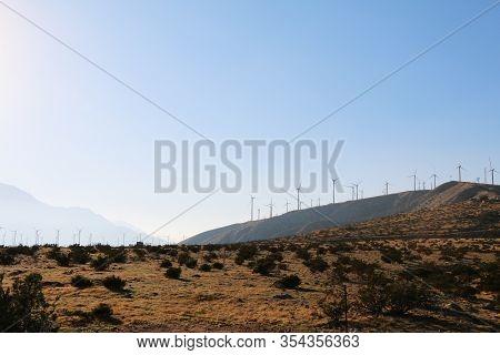 Sunset Contrast Desert Mountains Ridge Wind Turbines