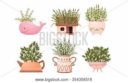 Unusual Flowerpots Or Vases With Twigs And Plants Standing Inside Them Vector Set