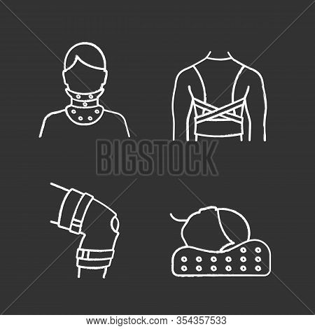 Trauma Treatment Chalk Icons Set. Cervical Collar, Posture Corrector, Knee Brace, Orthopedic Pillow.