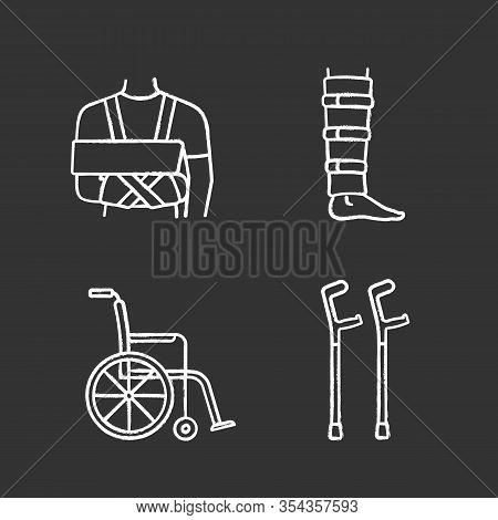 Trauma Treatment Chalk Icons Set. Shoulder Immobilizer, Shin Brace, Wheelchair, Elbow Crutches. Isol
