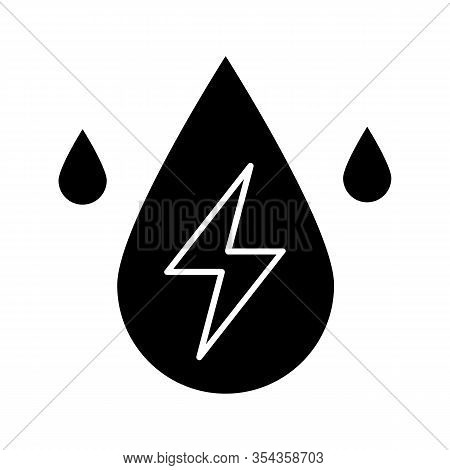 Water Energy Glyph Icon. Silhouette Symbol. Hydropower. Hydroelectricity. Liquid Drop With Lightning