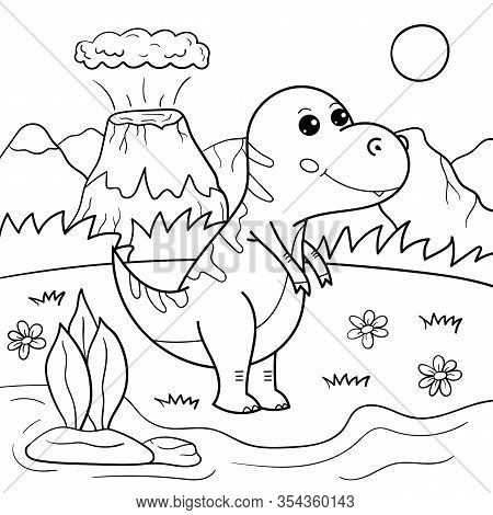 Coloring Page For Children. Outline Cartoon Tyrannosaurus Dinosaur Vector Character. Educational Cre
