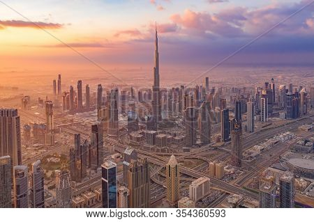 Aerial View Of Burj Khalifa In Dubai Downtown Skyline And Highway, United Arab Emirates Or Uae. Fina