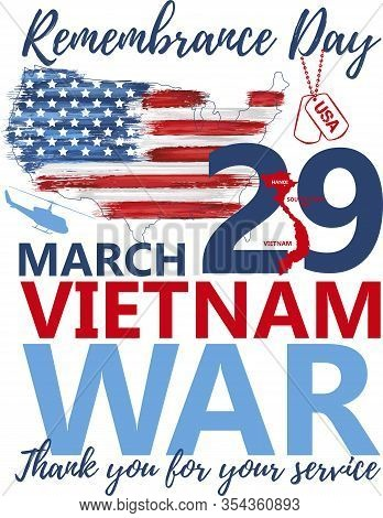 National Vietnam War Veterans Day Celebrated 29th Of March In Usa Banner. Thank You For Service. Rem
