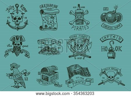 Set Of Pirate Labels. Corsairs, Skull At Anchor, Map To Treasure, Military Black Beard, Caribbean Is