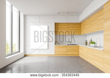 White And Wooden Kitchen, Counters And Poster