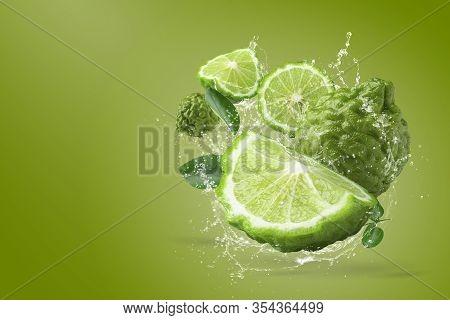 Water Splashing On Bergamot Fruit On Green Background.