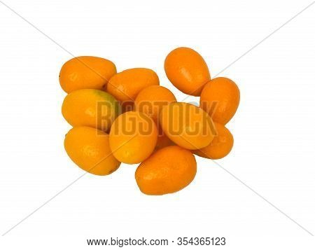 Kumquat Isolated On A White Background.  Natural Food.