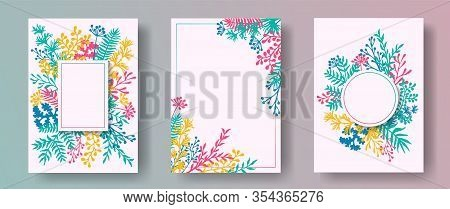 Wild Herb Twigs, Tree Branches, Flowers Floral Invitation Cards Collection. Bouquet Wreath Vintage C