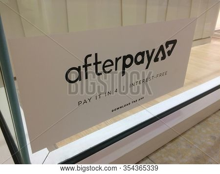 Moorachydore, Qld, Australia - 25th February 2020 : Afterpay App Sticker Placed On A Shopfront Windo