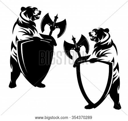 Rearing Up Bear Holding Heraldic Shield And Halberd Axe - Security Concept Black And White Vector De