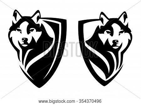 Wild Wolf Watching Attentively - Animal Head In Heraldic Shield For Security Concept Black And White