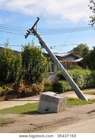 Christchurch Earthquake - Liquefaction Causes Power Poles To Collapse