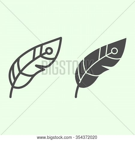 Feather Line And Solid Icon. Decorative Witchcraft Plume Outline Style Pictogram On White Background