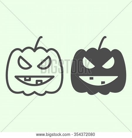 Halloween Pumpkin Line And Solid Icon. Carved Burning Gourd With Scary Face Outline Style Pictogram
