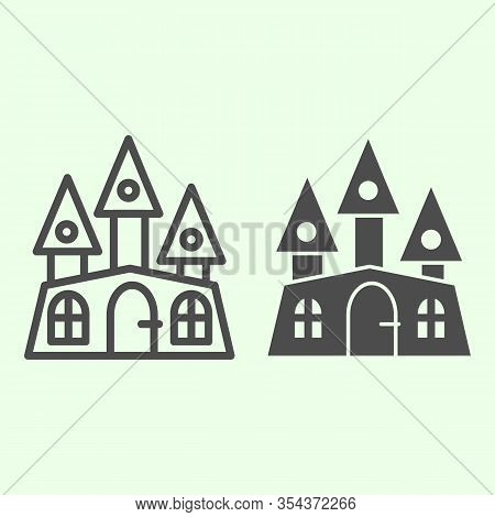 Haunted House Line And Solid Icon. Halloween Mystical Gothic Building Outline Style Pictogram On Whi