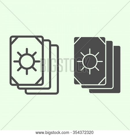 Tarot Cards Line And Solid Icon. Oracle Card Stack With Sun Circle Outline Style Pictogram On White