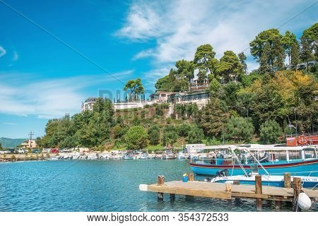 Corfu Island, Greece - October 4, 2019: Seaside With Boats On Corfu Island, Greece. Beautiful Landsc