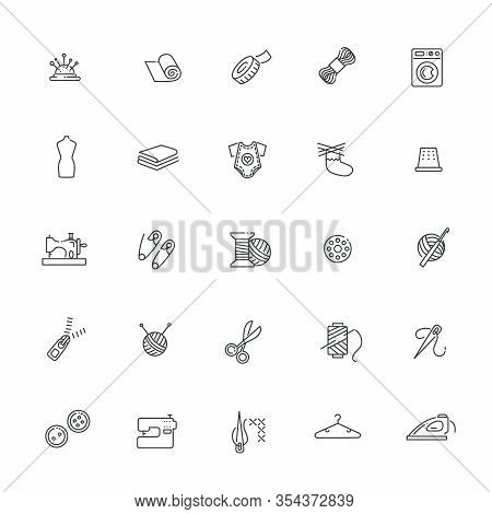 Vector Sewing Equipment And Needlework Icons Line Set