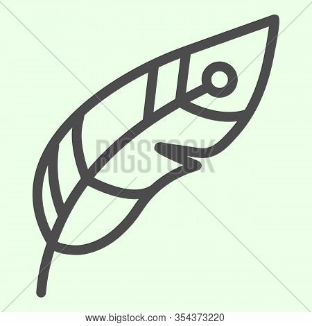 Feather Line Icon. Decorative Witchcraft Plume Outline Style Pictogram On White Background. Witchcra
