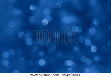 Classic Blue Lights Bokeh Background, Chrismas Lights Bokeh. Classic Blue Abstract Background. Blurr