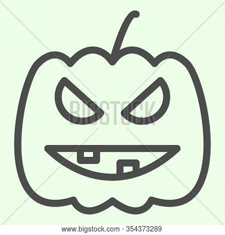Halloween Pumpkin Line Icon. Carved Burning Gourd With Scary Face Outline Style Pictogram On White B