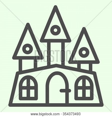 Haunted House Line Icon. Halloween Mystical Gothic Building Outline Style Pictogram On White Backgro