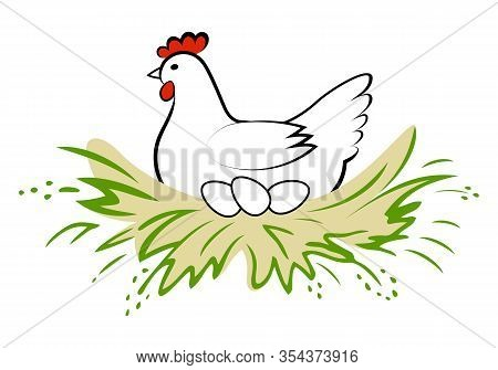 Hen incubate eggs in the nest on white background. Vector logo chicken farm. Products from chicken meat and eggs. Poultry farm.