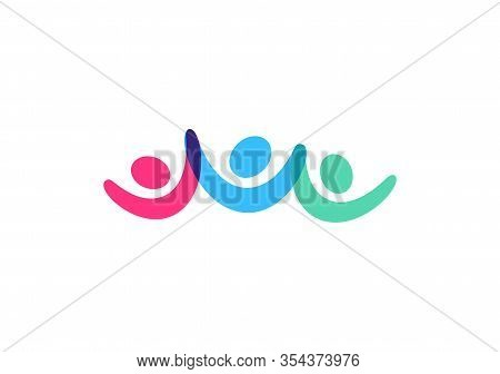 Team Vector Icon, People Hold Hand And Raise Their Hands Up, Victory And Support Symbol, Abstract Co