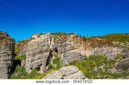 Meteora Monastery. Corfu Island In Ionian Sea. Greece. View Of Beautiful Landscape Meteora Monastery