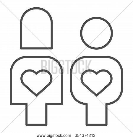 Couple In Love With Reciprocity Thin Line Icon. Lovers With Heart In Their Bodies Symbol, Outline St