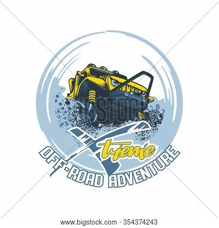 Extreme Off-road Adventure Suv Overcoming Difficult Obstacles. Vector Illustration