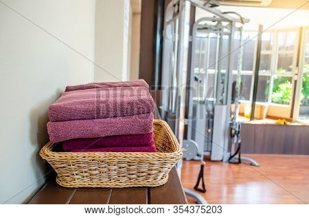 Close Up Of Clean Towels In Basket At Fitness Room, Ready To Use.