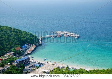 Koh Larn,thailand - Oct 22, 2019: Top View Of Koh Larn Island Peaceful And Popular Tourist Destinati