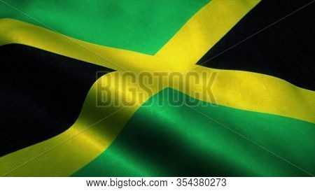 Jamaica Flag Waving In The Wind. National Flag Of Jamaica. Sign Of Jamaica. 3d Rendering.