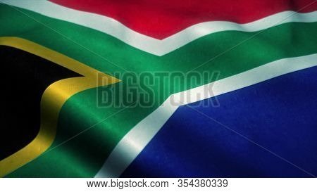 South Africa Flag Waving In The Wind. National Flag Of South Africa. Sign Of South Africa. 3d Render