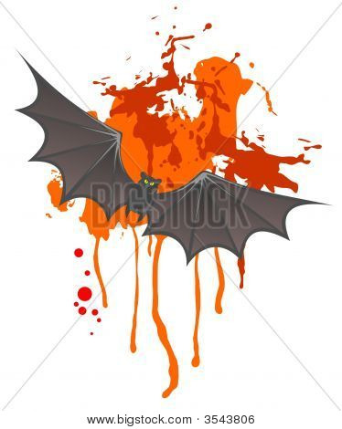 Flying bat on a red spot background. Halloween illustration. poster
