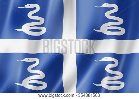 Martinique Snake Flag, Overseas Territories Of France. 3d Illustration