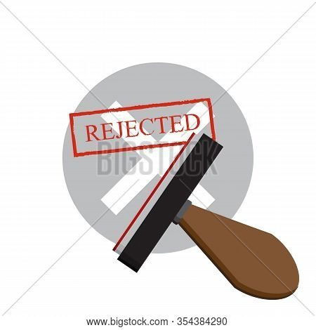 Rejected Document With Stamp. Rejected Application Concepts. Vector Illustration
