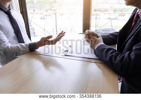 Job Seeker Talking And Presentation About Himself With Interview Employee For Job Interview In The O